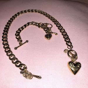Juicy couture gold necklace bracelet set
